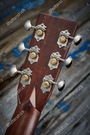 Detail Of The Headstock And Nickel Tuners On A 2017 Martin D-28 Dreadnought Acoustic Guitar