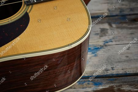 Detail Of The Binding And Purfling On A 2017 Martin D-28 Dreadnought Acoustic Guitar