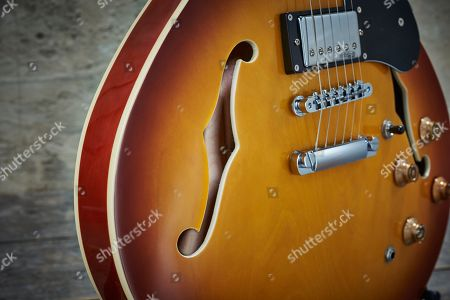 Detail Of The F-holes On A Vintage Vsa500 Electric Guitar With A Honeyburst Finish