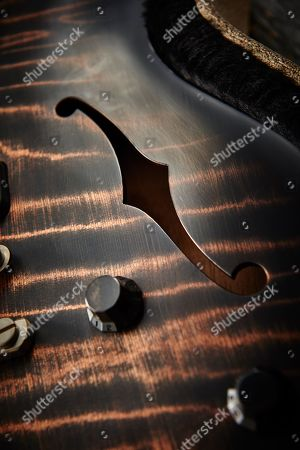 Stock Picture of Detail Of The F-holes On A Nik Huber Rietbergen Electric Guitar