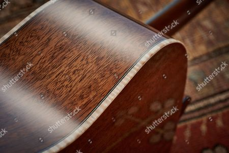 Detail Of The Khaya Mahogany Back And Sides On A Faith Pje Legacy Mars Electro-acoustic Guitar