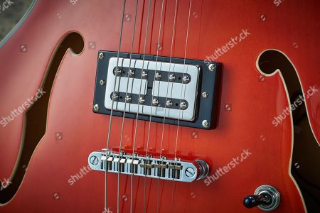Detail Of The Hvr24 Humbuckers On A Hutchins Chandler 6 Electric Guitar With A Transparent Orange Finish