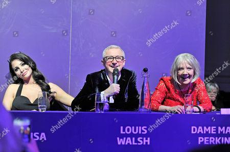 Tulisa Contostavlos, Louis Walsh and Dame Mary Perkins