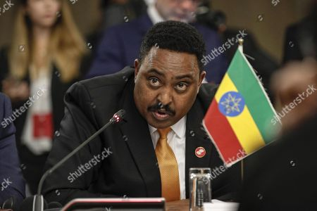 Stock Picture of The Minister of Foreign Affairs of Ethiopia Workneh Gebeyehu speaks during the Italia - Africa Conference at Farnesina Palace in Rome, Italy, 25 October 2018.   The conference shall promote the structured dialogue on collaboration based on mutual interests on sustainable economic growth, security, stability and human development in Africa.