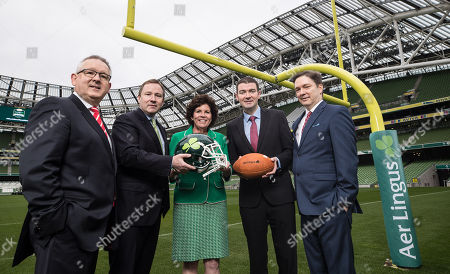 Paul Keeley, Failte Ireland, Stephen Kavanagh, CEO Aer Lingus, Elizabeth ?Dolly? Duffy, Executive Director, Notre Dame Alumni Association and Associate Vice President for University Relations, Minister Brendan Griffin TD - Minister of State at the Department of Transport, Tourism and Sport with special responsibility for Tourism and Sport and Reece Smyth, Charge d?Affaires at the U.S. Embassy in Dublin are pictured at the announcement of the Aer Lingus College Football Series, a five-game sports tourism programme which kicks off with the return of Navy vs Notre Dame to the Aviva Stadium in 2020. The return of College Football to Ireland is expected to generate over ?250 million in economic value for the country over the coming years. For exclusive information see www.collegefootballireland.com and follow College Football Ireland on Twitter @CFBIreland, Facebook @CollegeFootballIreland and Instagram @CFBIreland#MuchMoreThanAGame