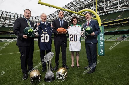 An Taoiseach, Leo Varadkar is pictured with Stephen Kavanagh, CEO Aer Lingus, Martin Naughton, Elizabeth ?Dolly? Duffy, Executive Director, Notre Dame Alumni Association and Associate Vice President for University Relations and Reece Smyth, Charge d?Affaires at the U.S. Embassy in Dublin at the announcement of the Aer Lingus College Football Series, a five-game sports tourism programme which kicks off with the return of Navy vs Notre Dame to the Aviva Stadium in 2020. The return of College Football to Ireland is expected to generate over ?250 million in economic value for the country over the coming years. For exclusive information see www.collegefootballireland.com and follow College Football Ireland on Twitter @CFBIreland, Facebook @CollegeFootballIreland and Instagram @CFBIreland#MuchMoreThanAGame