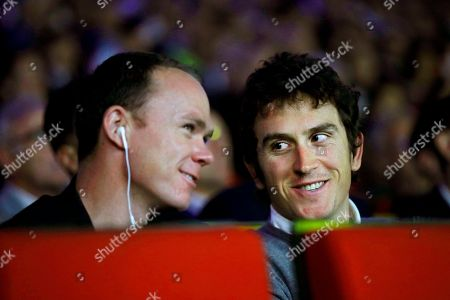 British riders Christopher Froome (L) and Geraint Thomas (R), both of Team Sky, attend the presentation of the Tour de France 2019 in Paris, France, 25 October 2018. The 106th edition of the Tour de France cycling race will start on 06 July in Brussels, Belgium and arrive in Paris on 28 July 2019.