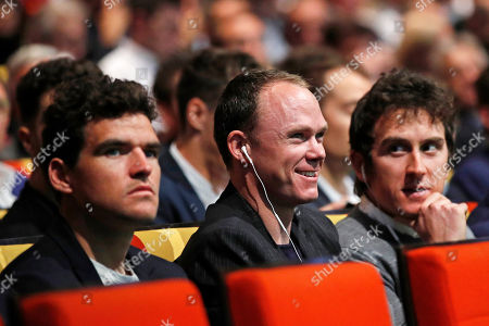 (L-R) Belgian rider Greg van Avermaet of the BMC Racing Team, British riders Christopher Froome and Geraint Thomas, both of Team Sky, attend the presentation of the Tour de France 2019 in Paris, France, 25 October 2018. The 106th edition of the Tour de France cycling race will start on 06 July in Brussels, Belgium and arrive in Paris on 28 July 2019.