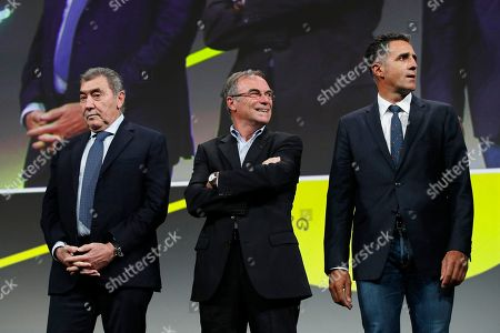 Five time Tour de France winners (L-R) Eddy Merckx of Belgium, Bernard Hinault of France, and Miguel Indurain of Spain attend the presentation of the Tour de France 2019 in Paris, France, 25 October 2018. The 106th edition of the Tour de France cycling race will start on 06 July in Brussels, Belgium and arrive in Paris on 28 July 2019.