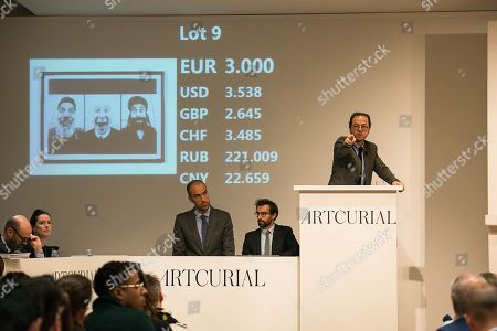 Auction of work of JR: 28 Millimetres, Face 2 Face, Holy Tryptich - 2011, lot 9, lithograph on paper, sold 6900 Euros with fees.