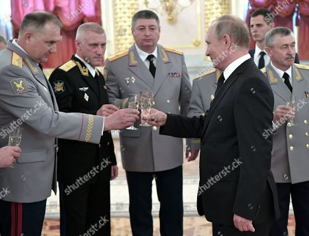Senior Officers promotion ceremony Moscow Stock Photos