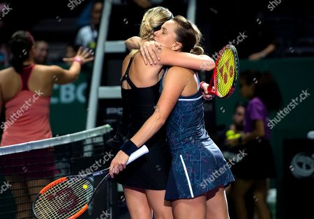 Andrea Sestini Hlavackova and Barbora Strycova of the Czech Republic celebrate winning their doubles quarter-final