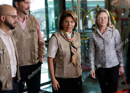 Laura Chinchilla, head of the OAS Electoral Observation Mission and former President of Costa Rica, arrives to meet the Workers' Party presidential candidate Fernando Haddad, in Sao Paulo, Brazil, . Haddad will face presidential frontrunner Jair Bolsonaro, in a runoff on Sunday