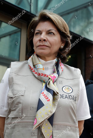 Laura Chinchilla, head of the OAS Electoral Observation Mission and former President of Costa Rica, stands stands outside a hotel after meeting with Workers' Party presidential candidate Fernando Haddad, in Sao Paulo, Brazil, . Haddad will face frontrunner Jair Bolsonaro in a runoff on Sunday