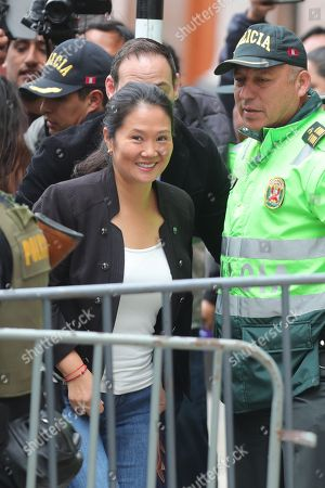 The President of the party Fuerza Popular Keiko Fujimori (C) arrives at the National Criminal Chamber, in Lima, Peru, 25 October 2018. Keiko Fujimori is attending the resumption of the hearing where the Prosecutor's Office is requesting preventive detention. Reports state that Fujimori is now facing a 36-month preventive detention requested, by Anti-corruption prosecutor Jose Domingo Perez, against the alleged money laundering allegations.