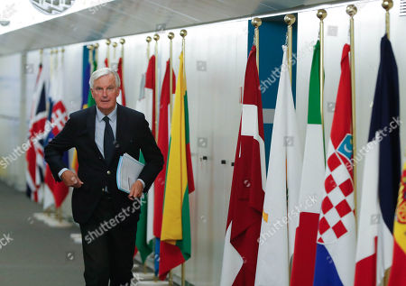 European Union's chief Brexit negotiator Michel Barnier at the European Commission headquarters in Brussels, Belgium, 25 October 2018 before meeting Scottish National Party's leader in the House of Commons Ian Blackford, Britain's leader of the Liberal Democrat party, Vince Cable, member of the Welsh party Plaid Cymru Liz Saville-Roberts and Green MEP for the South West Molly Scott Cato. Reports state that leading figures from British opposition parties meet with European Union's chief Brexit negotiator Michel Barnier to discuss the current situation.