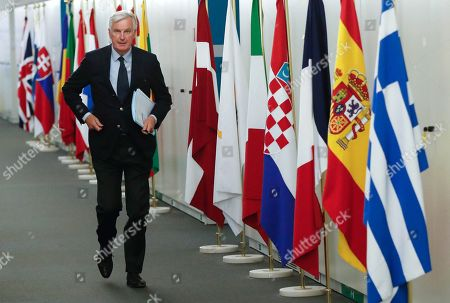 European Union's chief Brexit negotiator Michel Barnier is seen at the European Commission headquarters in Brussels, Belgium, 25 October 2018 before meeting Scottish National Party's leader in the House of Commons Ian Blackford, Britain's leader of the Liberal Democrat party, Vince Cable, member of the Welsh party Plaid Cymru Liz Saville-Roberts and Green MEP for the South West Molly Scott Cato. Reports state that leading figures from British opposition parties meet with European Union's chief Brexit negotiator Michel Barnier to discuss the current situation.