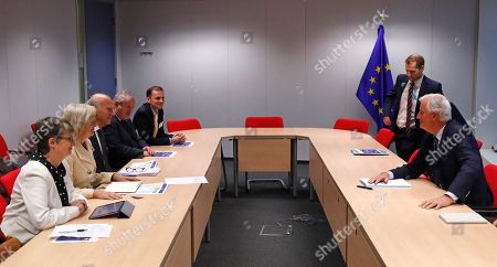 Scottish National Party's leader in the House of Commons Ian Blackford, Britain's leader of the Liberal Democrat party, Vince Cable, member of the Welsh party Plaid Cymru Liz Saville-Roberts and Green MEP for the South West Molly Scott Cato meet with European Union's chief Brexit negotiator Michel Barnier in Brussels, Belgium, 25 October 2018. Reports state that leading figures from British opposition parties meet with European Union's chief Brexit negotiator Michel Barnier to discuss the current situation.