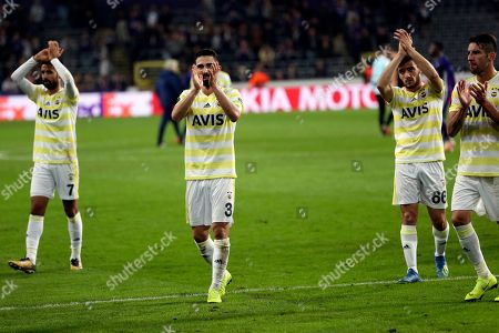 Fenerbahce's Hasan Ali Kaldirim, second left, applauds supporters at the end of the Europa League Group D soccer match between Anderlecht and Fenerbahce at the Constant Vanden Stock stadium in Brussels, . Ali Kald?r?m scored once and the match ended in a 2-2 draw