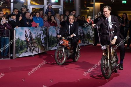 Bjarne Maedel and Lars Eidinger arrive for a German film premiere of '25km/h' at the CineStar in Berlin, Germany, 25 October 2018. The movie opens in German cinemas on 31 October 2018.