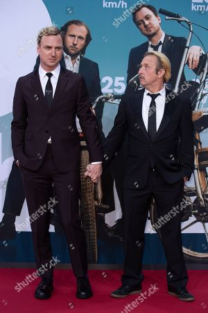 Lars Eidinger and Bjarne Maedel arrive for a German film premiere of '25km/h' at the CineStar in Berlin, Germany, 25 October 2018. The movie opens in German cinemas on 31 October 2018.