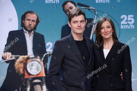 Sam Riley and his wife German-Romanian actress Alexandra Maria Lara arrives for a German film premiere of '25km/h' at the CineStar in Berlin, Germany, 25 October 2018. The movie opens in German cinemas on 31 October 2018.