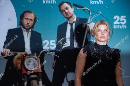 Joerdis Triebel arrives for a German film premiere of '25km/h' at the CineStar in Berlin, Germany, 25 October 2018. The movie opens in German cinemas on 31 October 2018.