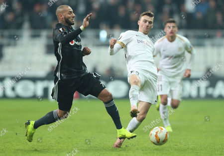 Besiktas's Ricardo Quaresma (L) in action against Genk's Ruslan Malinovskly (R) during the UEFA Europa Legue group I soccer match between Besiktas and Genk in Istanbul, Turkey, 25 October 2018.