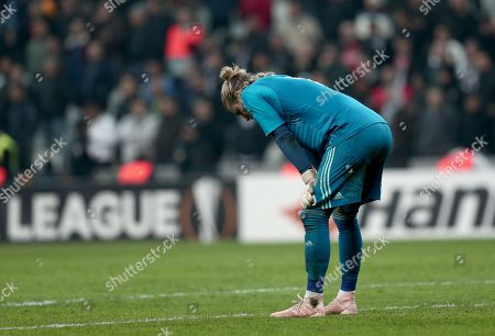Besiktas's goalkeeper Loris Karius reacts during the UEFA Europa Legue group I match between Besiktas and Genk in Istanbul, Turkey, 25 October 2018.