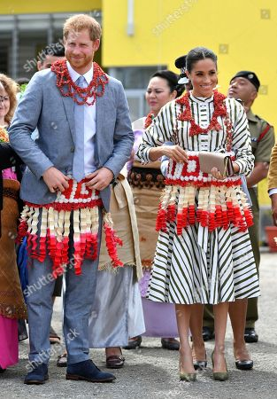 The Duke and Duchess of Sussex visit an exhibition of Tongan handicrafts, mats and tapa cloths at the Fa'onelua Convention Centre in Nuku'alofa, Tonga, . Prince Harry and his wife Meghan are on day 11 of their 16-day tour of Australia and the South Pacific