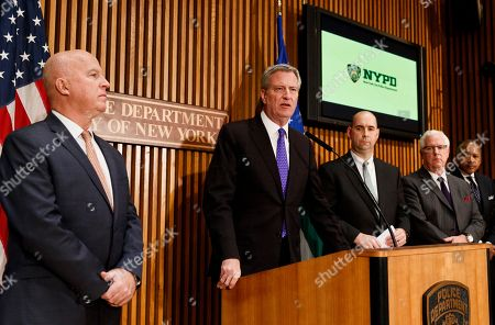 New York Police Commissioner James O'Neill (L), New York Mayor Bill de Blasio (2-L), FBI Assistant Director William Sweeney (3-L) and NYPD's Deputy Commissioner of Intelligence and Counterterrorism John Miller (2-R) brief reporters on the recent suspicious packages found at CNN's offices and Robert de Niro's office in New York, New York, USA, 25 October 2018. The packages are reportedly connected to other similar packages found in other parts of the country.