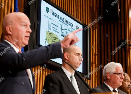 New York Police Commissioner James O'Neill (L), FBI Assistant Director William Sweeney (2-L) and NYPD's Deputy Commissioner of Intelligence and Counterterrorism John Miller (R) brief reporters on the recent suspicious packages found at CNN's offices and Robert de Niro's office in New York, New York, USA, 25 October 2018. The packages are reportedly connected to other similar packages found in other parts of the country.