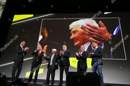 Stock Picture of Christian Prudhomme, Raymond Poulidor, Eddy Merckx, Bernard Hinault, Miguel Indurain