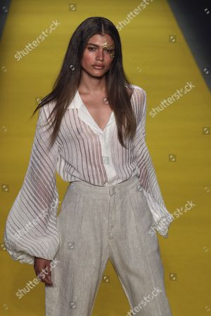 Valentina Sampaio presents creations from Brazilian label Handred, during Sao Paulo Fashion Week in Sao Paulo, Brazil, 25 October 2018. The 46th edition of Sao Paulo Fashion Week will be held from 21 to 26 October 2018.