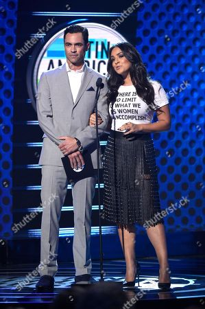 Danny Pino, Ana Lorena Sanchez. Danny Pino, left, and Ana Lorena Sanchez present the award for favorite regional Mexican album at the Latin American Music Awards at the Dolby Theatre, in Los Angeles