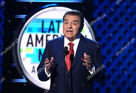 Stock Image of Don Francisco speaks on stage at the Latin American Music Awards at the Dolby Theatre, in Los Angeles