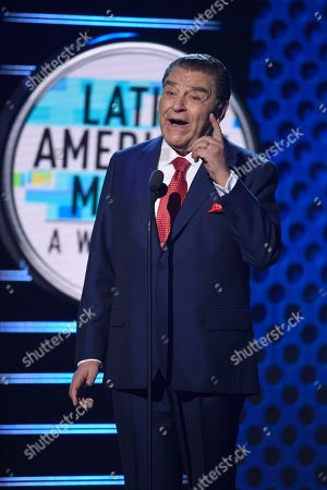 Don Francisco speaks on stage at the Latin American Music Awards at the Dolby Theatre, in Los Angeles