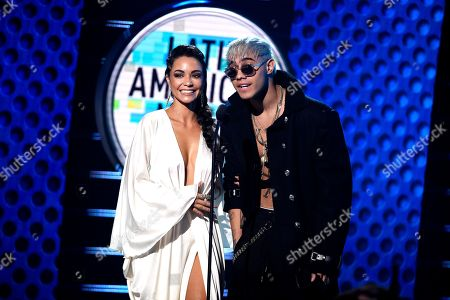 Sharlene Taule, Yashua. Sharlene Taule, left, and Yashua speak on stage at the Latin American Music Awards at the Dolby Theatre, in Los Angeles