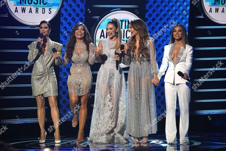 Stock Photo of Roselyn Sanchez, Gloria Trevi, Aracely Arambula, Leslie Grace, Becky G. Hosts Roselyn Sanchez, from left, Gloria Trevi, Aracely Arambula, Leslie Grace and Becky G appear on stage at the Latin American Music Awards at the Dolby Theatre, in Los Angeles
