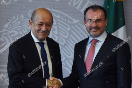 Stock Image of Jean-Yves Le Drian, Minister of Europe and Foreign Affairs (L) and Mexico's Foreign Affairs Luis Videgaray Caso during a press conference as part of Minister of Europe and Foreign Affairs working visit to Mexico at Ministry of Foreign Affairs of Mexico on October 25, 2018 in Mexico City, Mexico