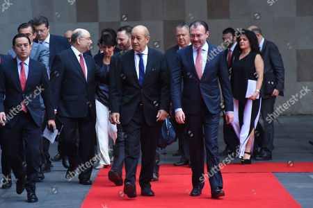 Jean-Yves Le Drian, Minister of Europe and Foreign Affairs and Mexico's Foreign Affairs Luis Videgaray Caso arriving at a press conference as part of Minister of Europe and Foreign Affairs working visit to Mexico at Ministry of Foreign Affairs of Mexico on October 25, 2018 in Mexico City, Mexico