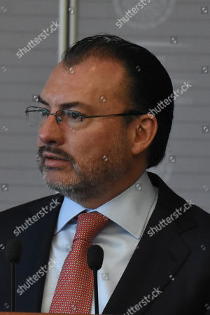 Mexico's Foreign Affairs Luis Videgaray Caso during a press conference as part of Minister of Europe and Foreign Affairs working visit to Mexico at Ministry of Foreign Affairs of Mexico on October 25, 2018 in Mexico City, Mexico