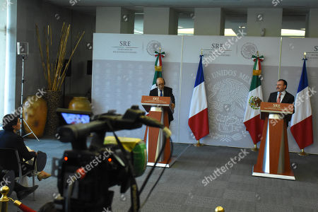 Jean-Yves Le Drian, Minister of Europe and Foreign Affairs (L) and Mexico's Foreign Affairs Luis Videgaray Caso during a press conference as part of Minister of Europe and Foreign Affairs working visit to Mexico at Ministry of Foreign Affairs of Mexico on October 25, 2018 in Mexico City, Mexico