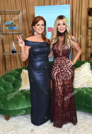 Maria Celeste Arraras, Myrka Dellanos. Maria Celeste Arraras, left, and Myrka Dellanos pose backstage at the Latin American Music Awards at the Dolby Theatre, in Los Angeles