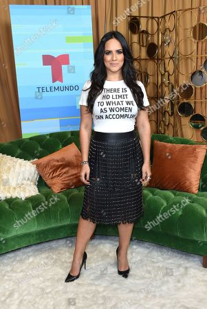 Stock Image of Ana Lorena Sanchez poses backstage at the Latin American Music Awards at the Dolby Theatre, in Los Angeles