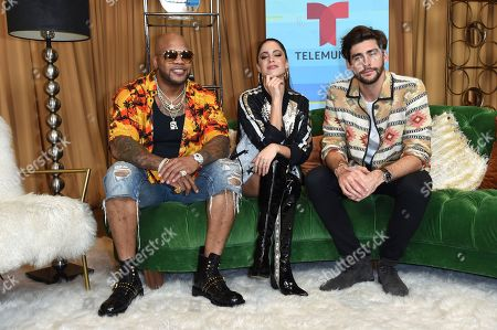 Flo Rider, Titi, Alvaro Soler. Flo Rider, from left, Titi and Alvaro Soler pose backstage at the Latin American Music Awards at the Dolby Theatre, in Los Angeles