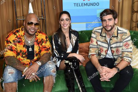 Stock Photo of Flo Rider, Titi, Alvaro Soler. Flo Rider, from left, Titi and Alvaro Soler pose backstage at the Latin American Music Awards at the Dolby Theatre, in Los Angeles