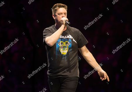 """Stock Image of Jim Breuer warms up the crowd before Metallica perform in concert during their """"WorldWired Tour"""" at The Wells Fargo Center, in Philadelphia"""