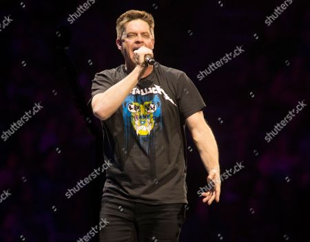 """Stock Picture of Jim Breuer warms up the crowd before Metallica perform in concert during their """"WorldWired Tour"""" at The Wells Fargo Center, in Philadelphia"""