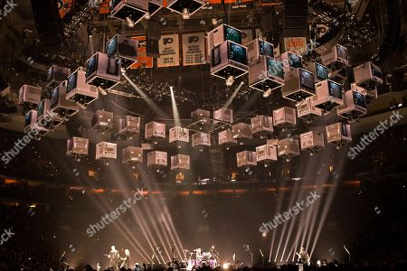"Lars Ulrich, James Hetfield, Kirk Hammett, Robert Trujillo. Metallica perform in concert during their ""WorldWired Tour"" at The Wells Fargo Center, in Philadelphia"